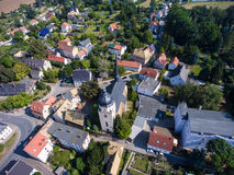 Aerial view of goessnitz altenburg thuringia town Royalty Free Stock Images