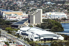 Aerial view of the Gold Coast Convention Centre and Jupiters Hotel & Casino. Gold Coast Convention Centre and Jupiters Hotel & Casino.  The iconic structures Royalty Free Stock Photos