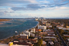 Aerial view of Gold Coast shoreline. Aerial view of sunset over the Gold Coast shoreline royalty free stock image