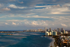 Aerial view of Gold Coast shoreline. Aerial view of sunset over the  Gold Coast shoreline Royalty Free Stock Photo