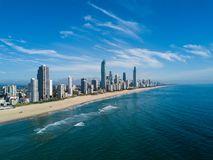 Aerial view of Gold Coast at sunrise, Queensland, Australia Stock Photos