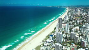 Aerial view of the Gold Coast Surfers Paradise in Australia stock video footage