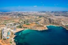 Aerial view of Golden bay beach, Ghajn Tuffieha bay. Mellieha, Northern Region, Malta island. Malta from above. stock photo