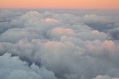Aerial view of Golden Clouds in the Sunset Stock Image