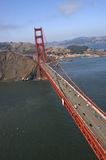 Aerial View of Golden Gate. An aerial view on the Golden Gate Bridge (San Francisco, CA) shot from the crazily tilted helicopter Stock Images