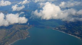 Aerial view of Golden Gate Bridge. From a commercial flight from France to San Francisco, just before landing in San-Francisco international airport Stock Image