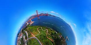 AERIAL VIEW OF GOLDEN GATE BRIDGE IN SAN FRANCISCO, CALIFORNIA. DRONE SHOT, PLANET PANORAMA 180 DEGREES. Stock Images