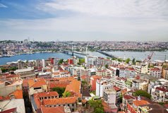 Aerial view of golden horn bay in turkish capital istanbul Stock Photos