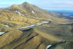 Aerial view of golden mountains Royalty Free Stock Image