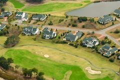 Aerial view of golf community royalty free stock image