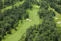 Aerial view of a golf course. An aerial view of a golf course in Minnesota Royalty Free Stock Photos