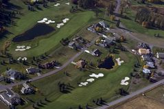 Aerial view of Golf Course. Aerial view of houses on a golf course in Montana Stock Photography