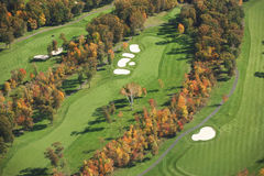 Aerial view of golf course in autumn Royalty Free Stock Photo