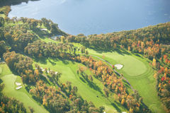 Aerial view of golf course in autumn. An aerial view of a golf course in Minnesota during autumn Stock Image