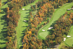 Aerial view of golf course in autumn Royalty Free Stock Photos