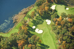Aerial view of golf course in autumn. Aerial view of golf course in Minnesota during autumn Stock Image
