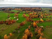 Aerial view of a golf course. stock image