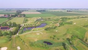 Aerial view on a Golf course stock video