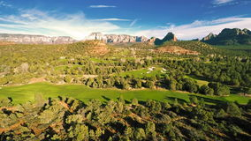 Aerial view of a golf course stock video footage