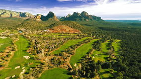 Aerial view of a golf course stock footage
