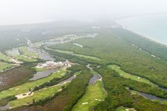 Aerial view of a golf course near Cancun, Mexi stock photography