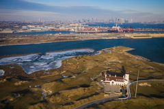 Aerial View of Golf Course in New Jersey Overlooking New York City royalty free stock photography