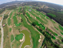 Aerial view golf course Royalty Free Stock Photo