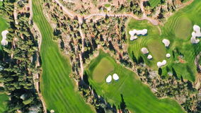 Aerial view of a golf course stock video