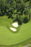 Aerial view of a golf fairlway and bunkers. An aerial view of a golf course in Minnesota zoomed in on a fairway and bunkers Royalty Free Stock Photos