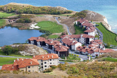 An aerial view of the golf resort. On the coast royalty free stock images