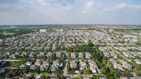 Aerial view of good environment house in good development real e Stock Images