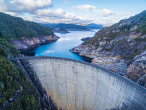 Aerial view of Gordon Dam and lake. Southwest, Tasmania Royalty Free Stock Photography