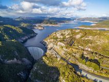 Aerial view of Gordon Dam and lake at sunset. Southwest, Tasmani. A, Australia Royalty Free Stock Images