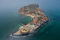 Aerial view of Goree Island. Gorée. Dakar, Senegal. Africa. Photo made by drone from above. UNESCO World Heritage Site