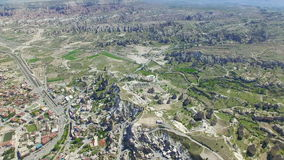 Aerial view of Goreme National Park in Cappadocia stock video footage