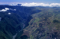 Aerial view of gorge and Cafres plain Royalty Free Stock Image