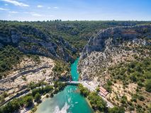 Aerial view of Gorge du Verdon canyon river in France. Aerial view of  Gorge du Verdon  canyon river in south of France Royalty Free Stock Photography