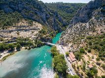 Aerial view of Gorge du Verdon canyon river in France. Aerial view of  Gorge du Verdon  canyon river in south of France Stock Images
