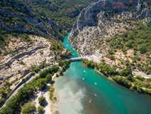 Aerial view of Gorge du Verdon canyon river in France. Aerial view of  Gorge du Verdon  canyon river in south of France Stock Image