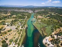 Aerial view of Gorge du Verdon canyon river in France. Aerial view of  Gorge du Verdon  canyon river in south of France Stock Photos
