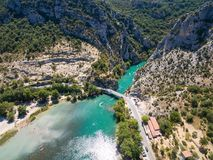Aerial view of Gorge du Verdon canyon river in France. Aerial view of  Gorge du Verdon  canyon river in south of France Royalty Free Stock Image