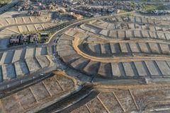 Aerial view of graded dirt lots royalty free stock photography