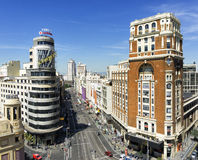 Aerial view of the Gran Via, in Madrid, Spain Royalty Free Stock Image