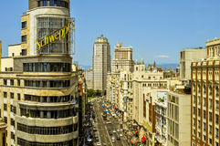 Aerial view of Gran Via street in Madrid, Spain Royalty Free Stock Image