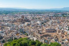 Aerial view of Granada Cathedral and city of Granada stock image