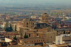 Aerial view on Granada cathedral stock image