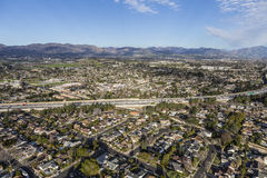 Aerial View Granada Hills in Los Angeles. Aerial view of the 118 freeway in the Granada Hills neighborhood of Los Angeles California Stock Photography