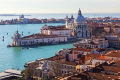 Aerial View of the Grand Canal and Basilica Santa Maria della Salute, Venice, Italy. Venice is a popular tourist destination of. Europe. Venice, Italy stock photography