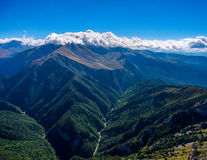 Aerial view of grand mountain valley. Russia. Stock Photos