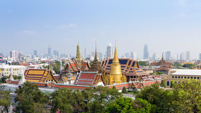 Aerial view of Grand Palace and Emerald Buddha Temple in Bangkok Royalty Free Stock Photos